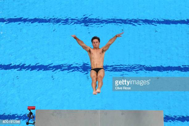 Tom Daley of Great Britain competes during the competes during the Men's Diving 10m Platform semi final on day eight of the Budapest 2017 FINA World...