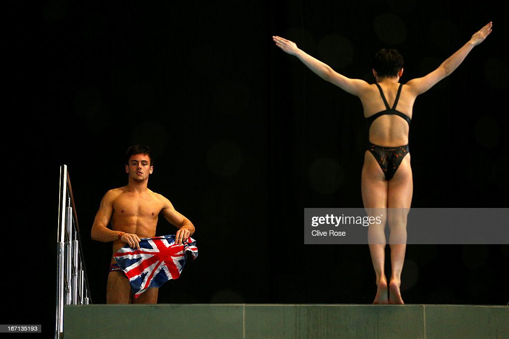 <a gi-track='captionPersonalityLinkClicked' href=/galleries/search?phrase=Tom+Daley&family=editorial&specificpeople=2652461 ng-click='$event.stopPropagation()'>Tom Daley</a> of Great Britain looks on during training on day three of the FINA/Midea Diving World Series 2013 at the Royal Commonwealth Pool on April 21, 2013 in Edinburgh, Scotland.