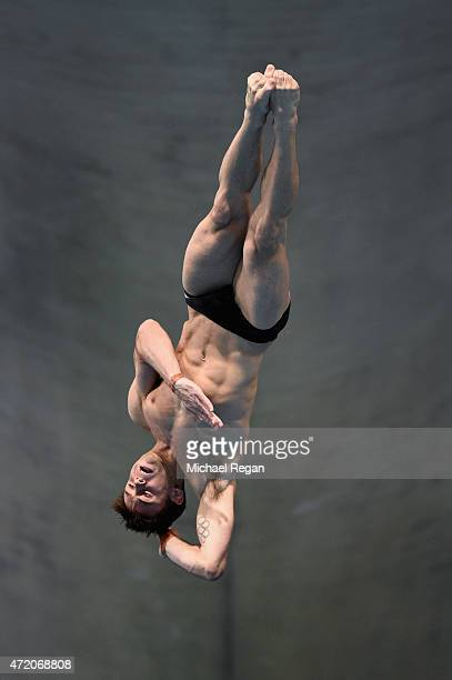 Tom Daley of Great Britain performs his 'firework' dive on his way to winning the Men's 10m Final during the FINA/NVC Diving World Series at Aquatics...