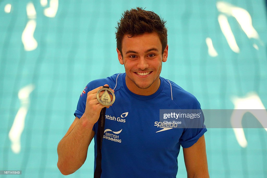 Tom Daley of Great Britain poses with his Gold medal after winning the Men's 10m Platform Final during day three of the FINA/Midea Diving World Series 2013 at the Royal Commonwealth Pool on April 21, 2013 in Edinburgh, Scotland.