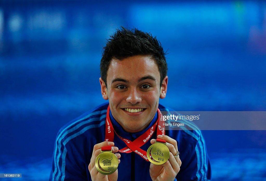 <a gi-track='captionPersonalityLinkClicked' href=/galleries/search?phrase=Tom+Daley+-+Diver&family=editorial&specificpeople=2652461 ng-click='$event.stopPropagation()'>Tom Daley</a> poses with his Gold medals after winning the Men's 10m final on day three of the British Gas Diving Championships on February 10, 2013 in Plymouth, England.