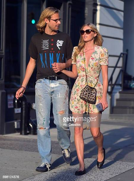 Tom Daly and Elsa Hosk are seen in Tribeca on August 31 2016 in New York City