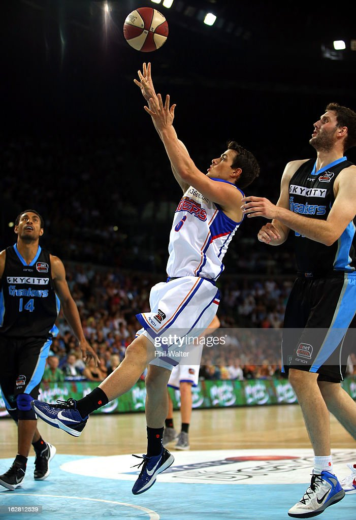 Tom Daly of the 36ers shoots during the round 21 NBL match between the New Zealand Breakers and the Adelaide 36ers at Vector Arena on February 28, 2013 in Auckland, New Zealand.