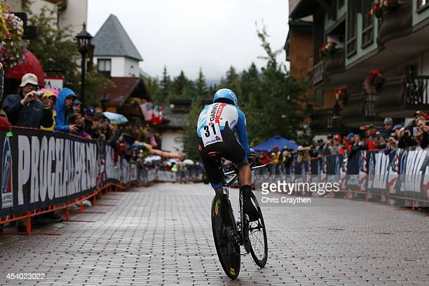 Tom Danielson of the United States riding for Garmin Sharp competes in the individual time trial during Stage 6 of the 2014 USA Pro Challenge on...