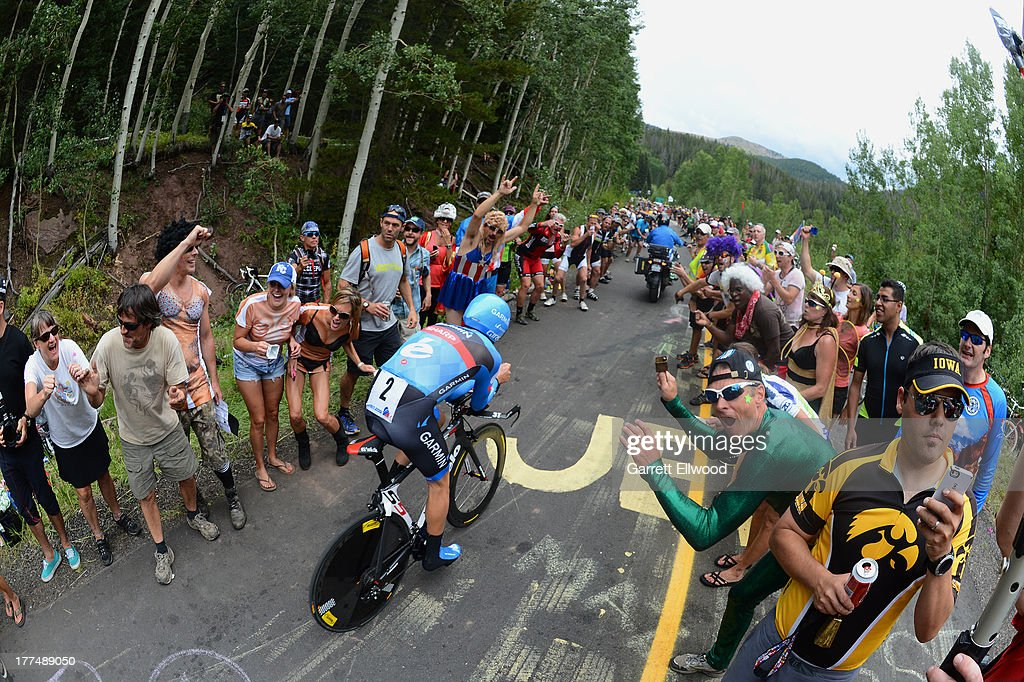 <a gi-track='captionPersonalityLinkClicked' href=/galleries/search?phrase=Tom+Danielson&family=editorial&specificpeople=224809 ng-click='$event.stopPropagation()'>Tom Danielson</a> #2 of the United States riding for Team Garmin-Sharp climbs the last kilometer of Stage Five of the USA Pro Cycling Challenge on August 23, 2013 in Vail, Colorado. Copyright 2013