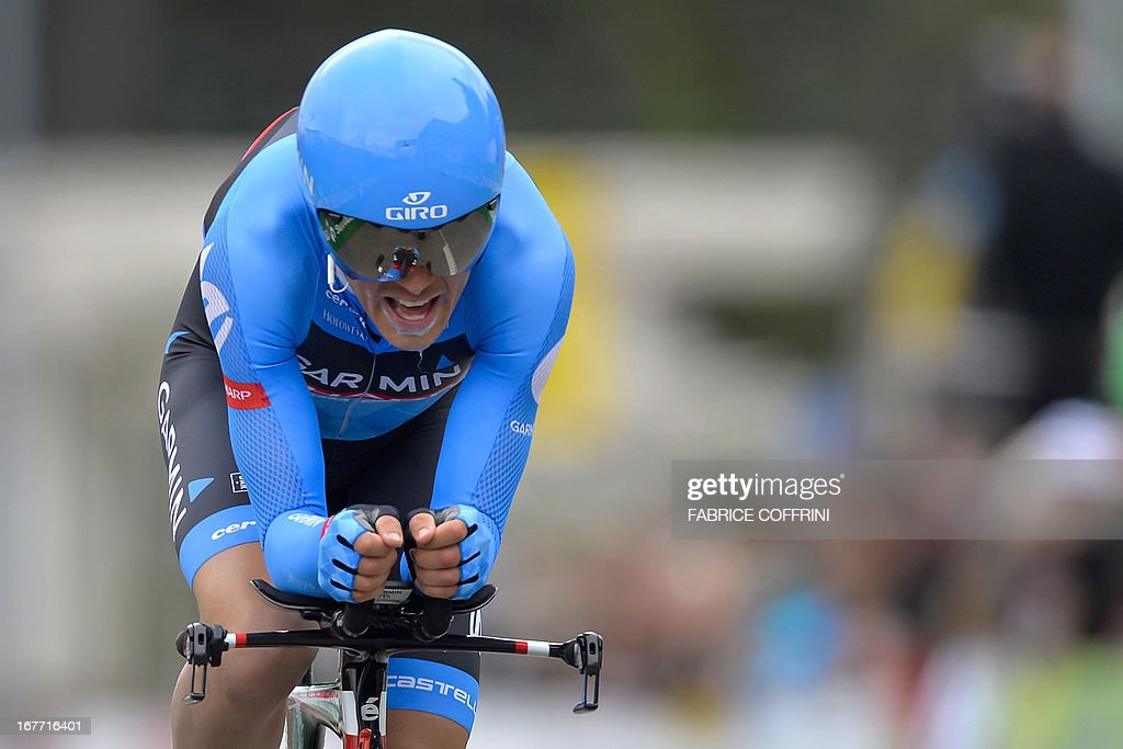 Tom Danielson of the US, fourth in the overall ranking, rides during the last stage of the Tour de Romandie cycling race, a 18,7 km race against the clock, on April 28, 2013 in Geneva.