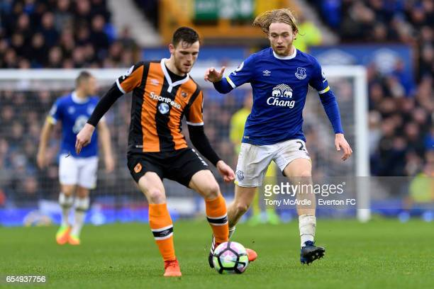 Tom Davies and Andrew Robertson during the Premier League match between Everton and Hull City at the Goodison Park on March 18 2017 in Liverpool...