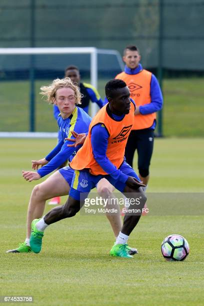Tom Davies and Idrissa Gueye during the Everton FC training session at USM Finch Farm on April 28 2017 in Halewood England