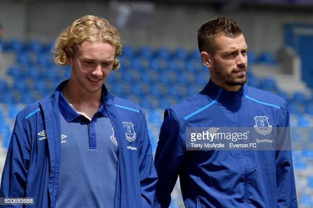 Tom Davies and Morgan Schneiderlin of Everton arrives for the preseason friendly match between KRC Genk and Everton FC on July 22 2017 in Genk Belgium