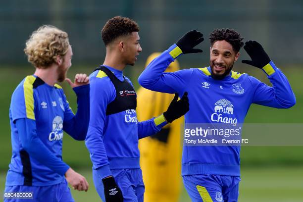 Tom Davies Mason Holgate and Ashley Williams during the Everton FC training session at USM Finch Farm on March 9 2017 in Halewood England