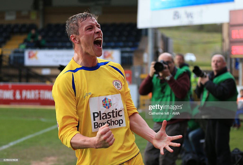 Tom Davies of Accrington Stanley celebrates after Mark Hughes of Accrington Stanley scores to make it 0-1 during the Sky Bet League Two match between Wycombe Wanderers and Accrington Stanley at Adams Park on April 30, 2016 in High Wycombe, England.