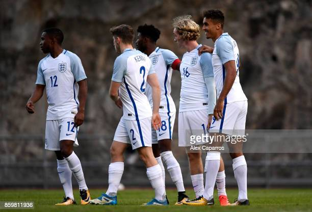 Tom Davies of England celebrates scoring the 1st goal during the UEFA European Under 21 Championship Qualifier between Andorra U21 and England U21 on...