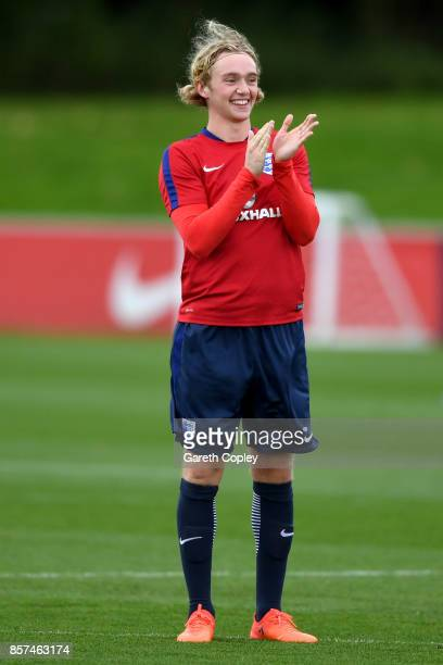 Tom Davies of England in action during a England U21 Training Session at St Georges Park on October 4 2017 in BurtonuponTrent England