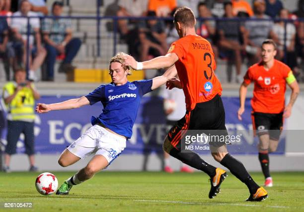 Tom Davies of Everton and Jan Maslo of Ruzomberok in action during the UEFA Europa League Qualifier between MFK Ruzomberok and Everton on August 3...