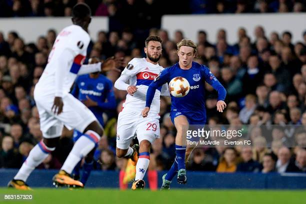 Tom Davies of Everton and Lucas Tousart during the UEFA Europa League group E match between Everton and Olympique Lyon at Goodison Park on October 19...