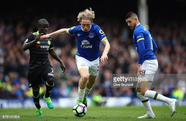 Tom Davies of Everton attempts to get away from N'Golo Kante of Chelsea during the Premier League match between Everton and Chelsea at Goodison Park...