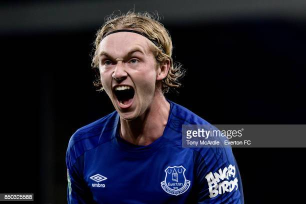 Tom Davies of Everton celebrates his team's first goal during the Carabao Cup Third Round match between Everton and Sunderland at Goodison Park on...
