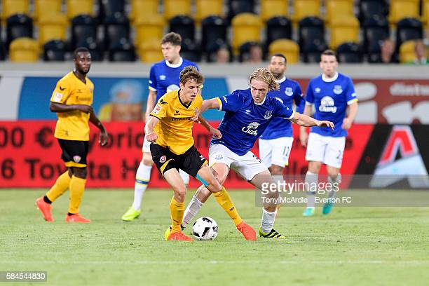 Tom Davies of Everton challenges Niklas Hauptmann challenges during the Dresden Cup match between Dynamo Dresden and Everton on July 29 2016 at...