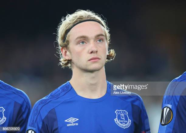 Tom Davies of Everton FC lines up prior to the UEFA Europa League group E match between Everton FC and Apollon Limassol at Goodison Park on September...