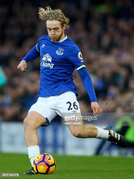 Tom Davies of Everton in action during the Premier League match between Everton and AFC Bournemouth at Goodison Park on February 4 2017 in Liverpool...