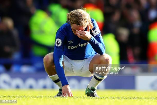 Tom Davies of Everton looks dejected following the Premier League match between Everton and Arsenal at Goodison Park on October 22 2017 in Liverpool...