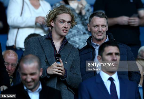 Tom Davies of Everton looks on from the stands during the Premier League 2 match between Everton and Liverpool at Goodison Park on May 8 2017 in...