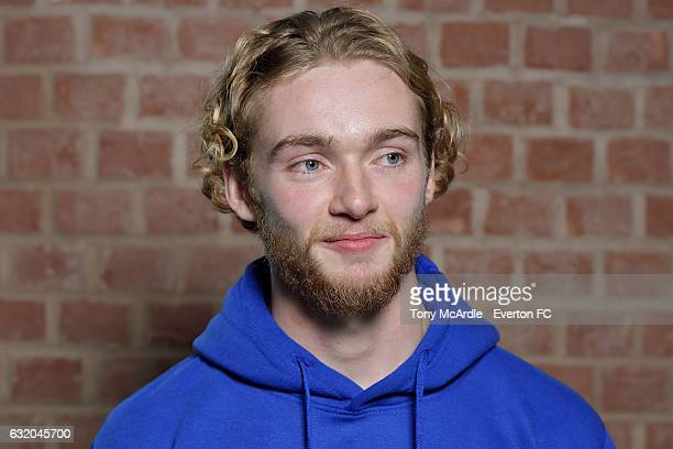 Tom Davies of Everton poses for a photo during his visit to the Everton Free School on January 18 2017 in Liverpool England