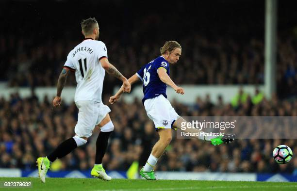 Tom Davies of Everton shoots during the Premier League match between Everton and Watford at Goodison Park on May 12 2017 in Liverpool England
