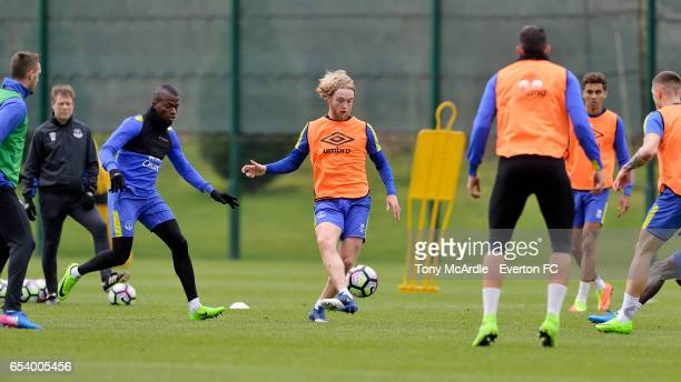 Tom Davies on the ball during the Everton FC training session at USM Finch Farm on March 16 2017 in Halewood England