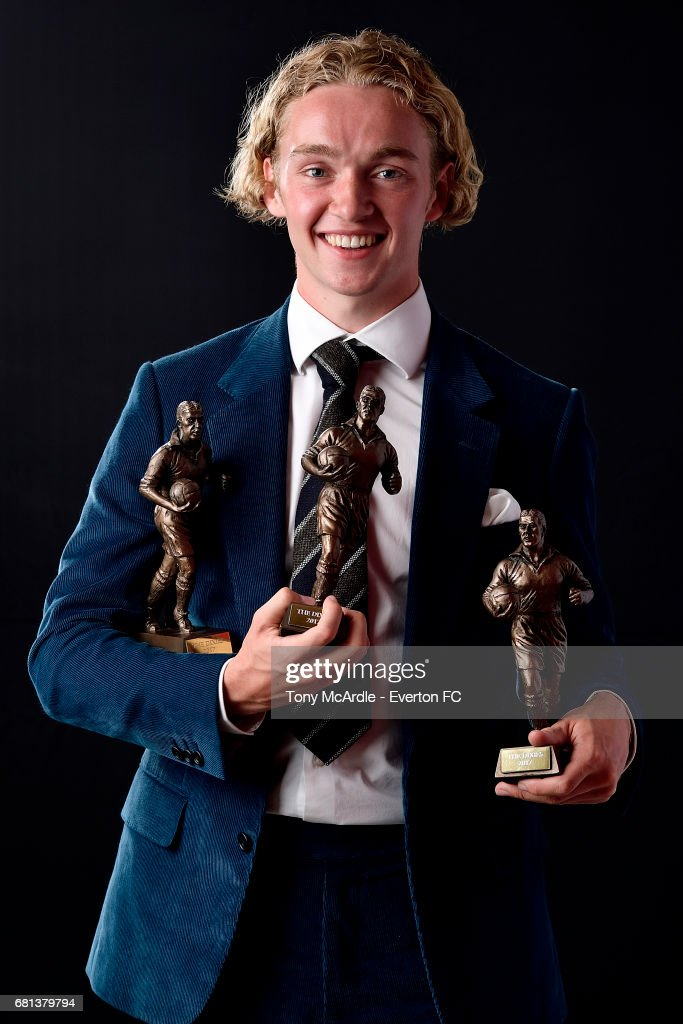 Tom Davies poses with his awards during the Everton End of Season Awards on May 9, 2016 in Liverpool, England.