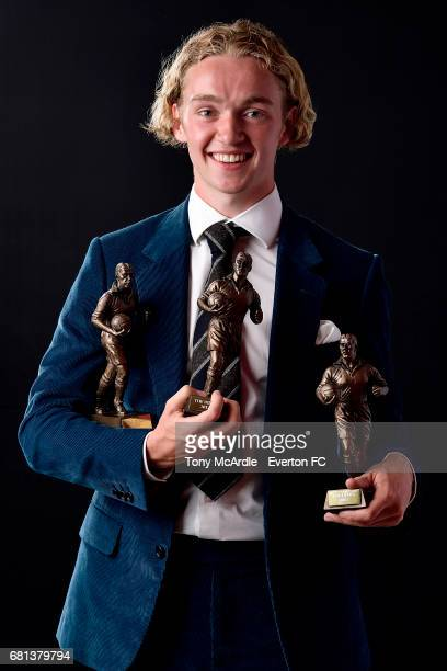 Tom Davies poses with his awards during the Everton End of Season Awards on May 9 2016 in Liverpool England