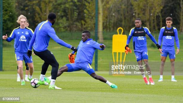 Tom Davies Romelu Lukaku Idrissa Gueye Ademola Lookman and Dominic CalvertLewin during the Everton training session at USM Finch Farm on April 20...