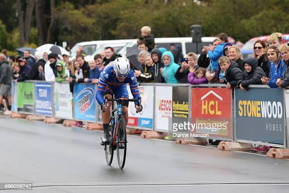 Tom Davison of Christchurch finishes first in stage 7 of the Tour of Southland on November 7 2015 in Invercargill New Zealand