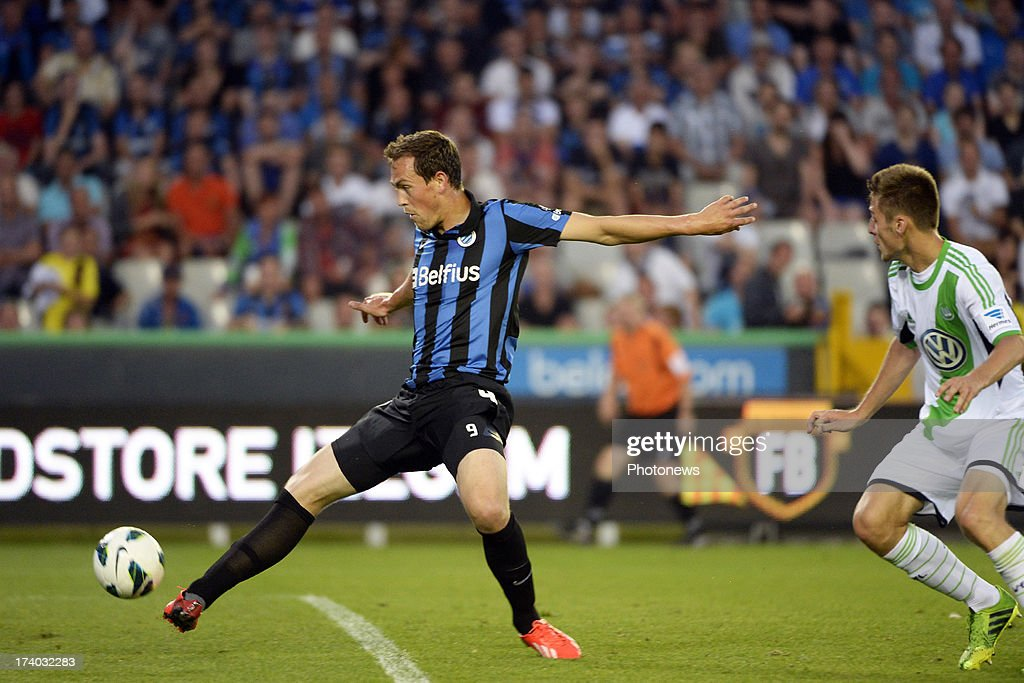 Tom De Sutter of Club Brugge K.V. scores during the friendly match between Club Brugge K.V. and Wolfsburg on July 19, 2013 in Bruges, Belgium.