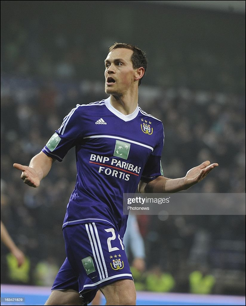 Tom De Sutter of RSC Anderlecht celebrates after scoring pictured in action during the Jupiler League match between RSC Anderlecht and KV Mechelen on March 9 , 2013 in Anderlecht , Belgium.