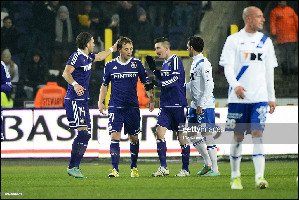 Tom De Sutter of RSC Anderlecht celebrates during the Cofidis Cup match between Rsc Anderlecht and Kaa Gent on January 16, 2013 in Anderlecht , Belgium.