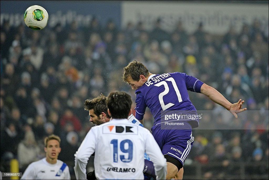 Tom De Sutter of RSC Anderlecht in action during the Cofidis Cup match between Rsc Anderlecht and Kaa Gent on January 16, 2013 in Anderlecht , Belgium.
