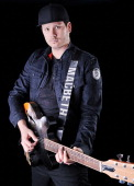 Tom DeLonge guitarist and vocalist of American pop punk band Blink182 photographed during a portrait shoot for Total Guitar Magazine July 10 2012