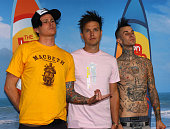 Tom DeLonge Mark Hoppus and Travis Barker of Blink182 winners of Choice Love Song for 'I Miss You' and Choice Tour of the Year for 'No Doubt and...