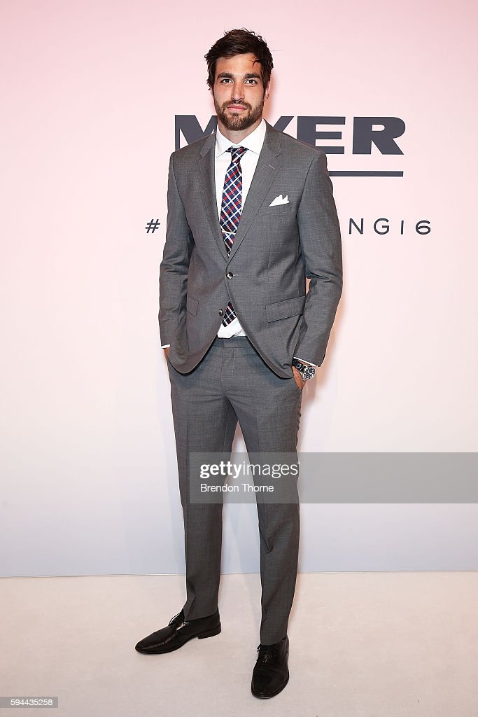 Tom Derickx arrives ahead of the Myer Spring 16 Fashion Launch at Hordern Pavilion on August 23 2016 in Sydney Australia