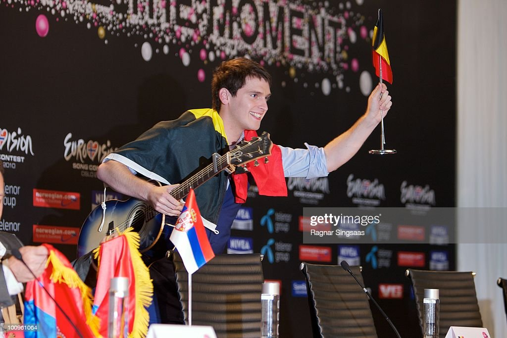 Tom Dice of Belgium s during a press conference after the first semi final at the Telenor Arena on May 25 2010 in Oslo Norway In all 39 countries...