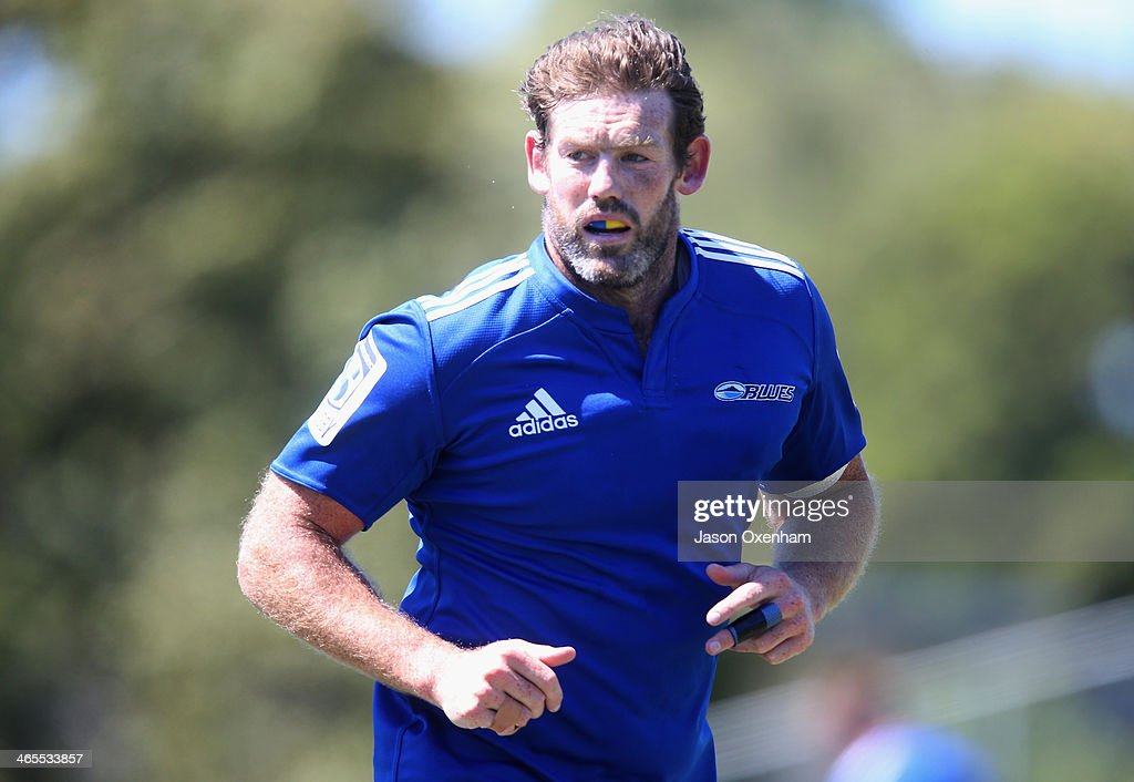 Tom Donnelly during a Blues Super Rugby training session at Unitec on January 28, 2014 in Auckland, New Zealand.