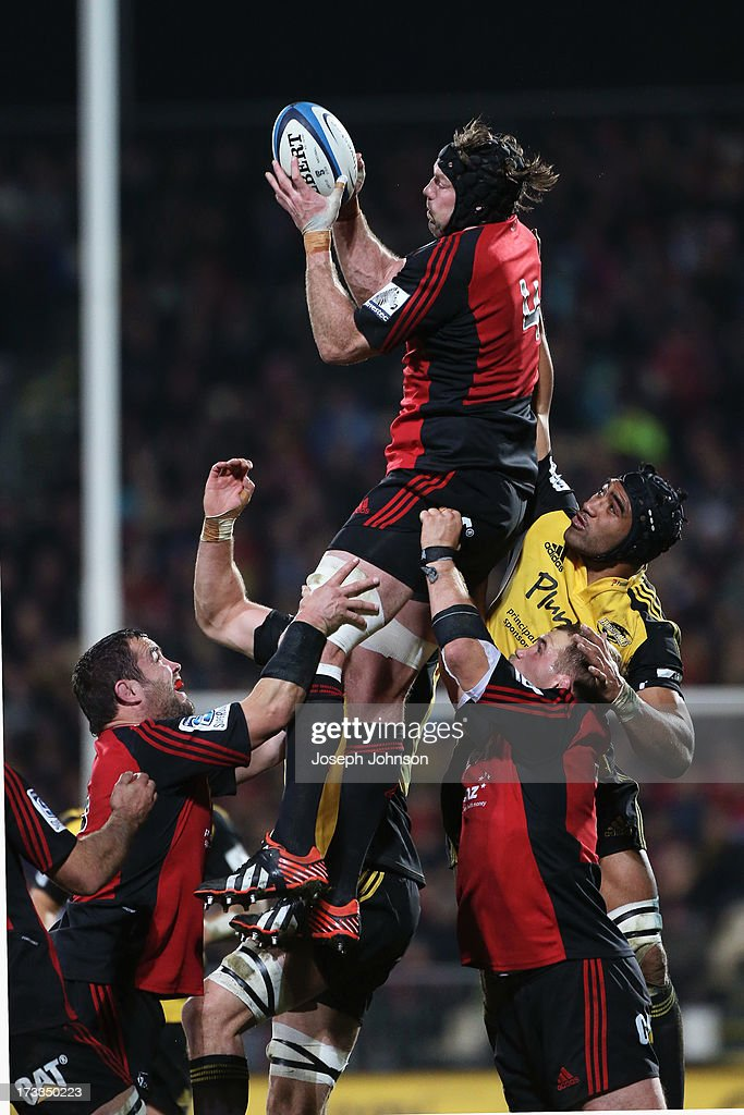 Tom Donnelly of the Crusaders wins a lineout during the round 20 Super Rugby match between the Crusaders and the Hurricanes at AMI Stadium on July 12, 2013 in Christchurch, New Zealand.