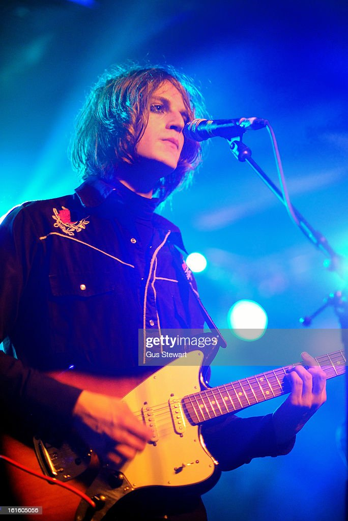 Tom Dougall of Toy performs on stage as part of the NME Awards series of concerts at Scala on February 12, 2013 in London, England.