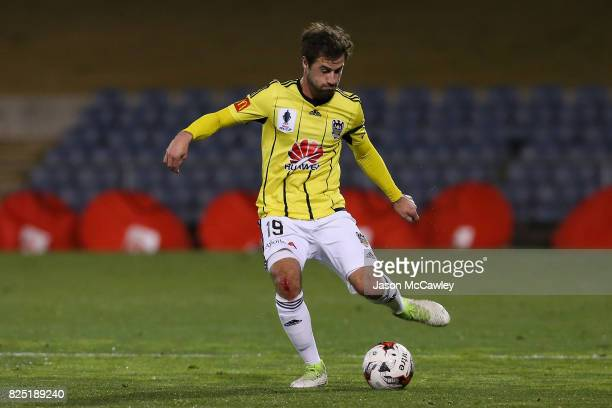 Tom Doyle of the Phoenix kicks during the FFA Cup round of 32 match between the Western Sydney Wanderers and the Wellington Phoenix at Campbelltown...