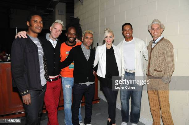 Tom Dumont Tony Kanal Gwen Stefani and Adrian Young of No Doubt pose with Tiger Woods at Tiger Jam 2009 held at the Mandalay Bay Events Center on May...