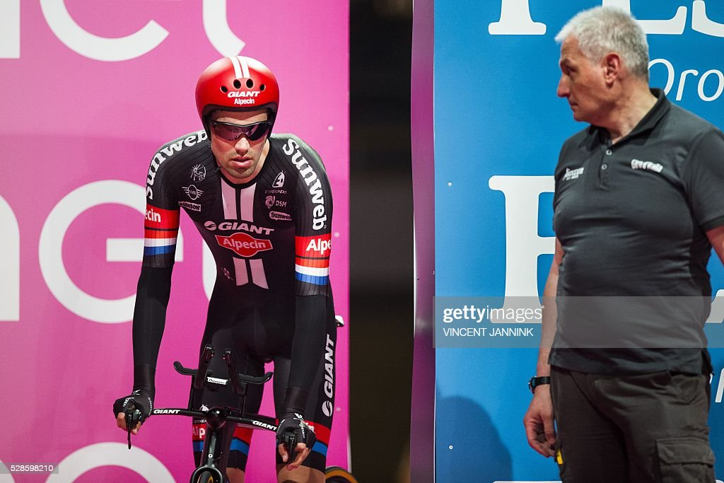 Tom Dumoulin from the Netherlands of Team Giant Alpecin takes the start of the first stage of the Giro d'Italia 2016 at Apeldoorn, Netherlands, on May 6, 2016, an individual time trial over 9.8km through Apeldoorn. / AFP / ANP / Vincent Jannink / Netherlands OUT