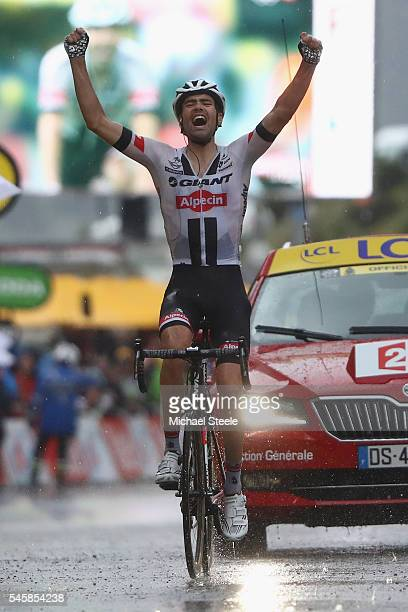 Tom Dumoulin of Holland and Team Giant Alpecin celebrates victory during the 1845 km stage 9 of Le Tour de France from Vielha Val D'Aran to Andorre...