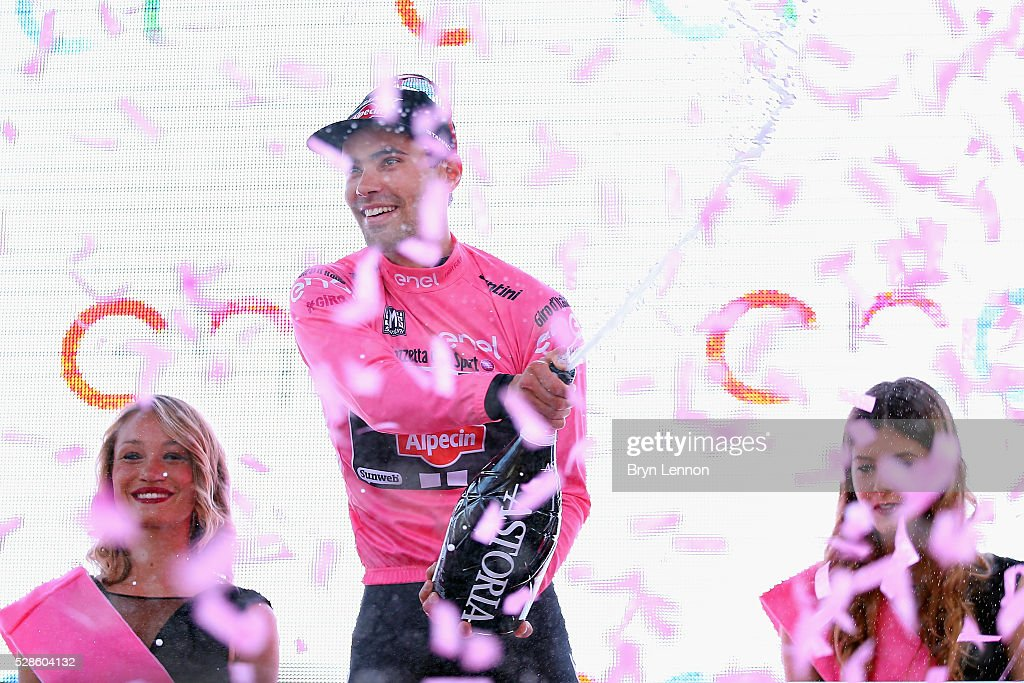 Tom Dumoulin of The Netherlands and Team Giant - Alpecin celebrates on the podium after winning stage one of the 2016 Giro, a 9.8km individual time-trial through Apeldoorn on May 06, 2016 in Apeldoorn, Netherlands.