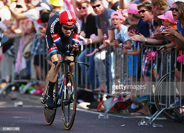 Tom Dumoulin of The Netherlands and Team Giant Alpecin in action on his way to winning stage one of the 2016 Giro a 98km individual timetrial through...